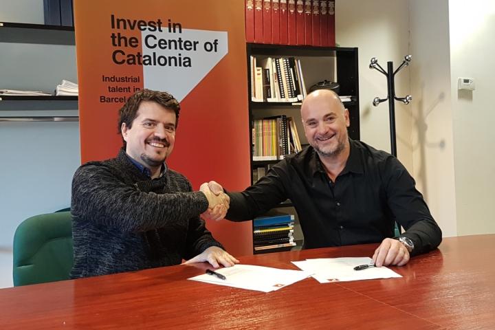 Joan Serra, delegat responsable de l'Oficina de Captació d'Inversions de la Conca d'Òdena, i Jaume Catarineu, president de TICAnoia