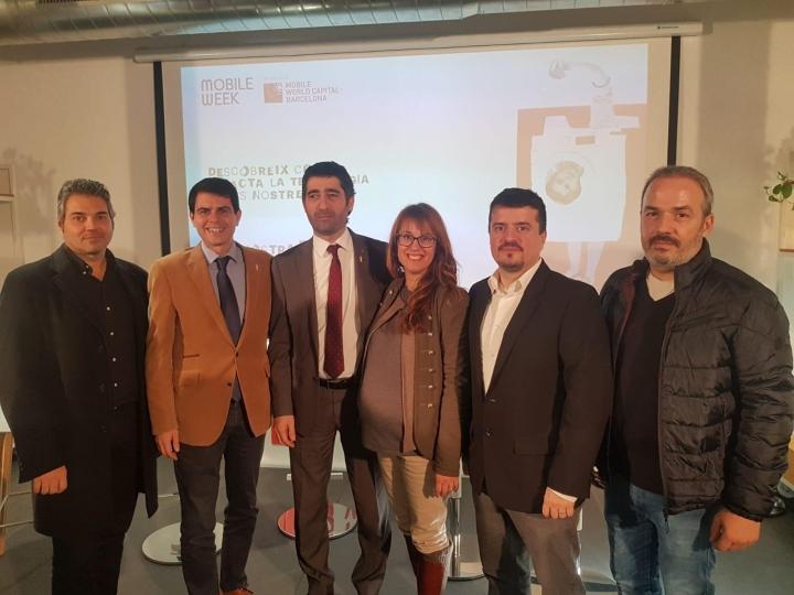 D'esquerra a dreta Joan Domènech (President UEA), Marc Castells (Alcalde d'Igualada), Jordi Puigneró (conseller de Polítiques Digitals de la Generalitat de Catalunya), Patrícia Illa (tinent d'alcalde de Dinamització Econòmica), Jaume Catarineu i Manel López (president i membre de junta de TICAnoia)